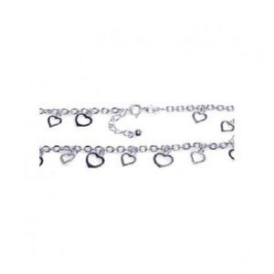 Jewelry - 925 Sterling Silver Adjustable Multi-hearts Anklet